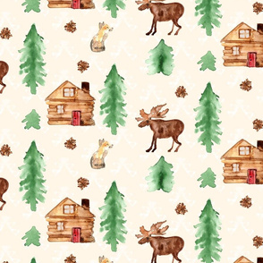 19-01H Fox moose Trees Pinecone on Cream _ Miss Chiff Designs