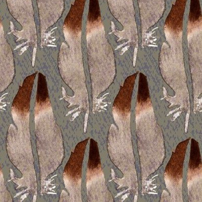 19-01E Jumbo Bird Feather Brown Gray Lavender Taupe _ Miss Chiff Designs