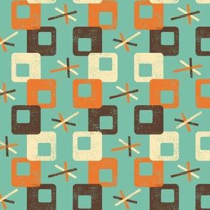 Midcentury Square Geometric ~ Orange Blue Brown Cream