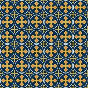 Gold Crosses on Blue 4
