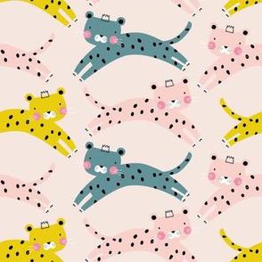 Cheetah leopard baby girl pink animal pattern