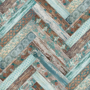 Vintage Wood Chevron Tiles Herringbone Teal Blue Coffee Brown