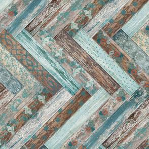 Vintage Wood Chevron Tiles Herringbone Teal Blue Coffee Brown Horizontal