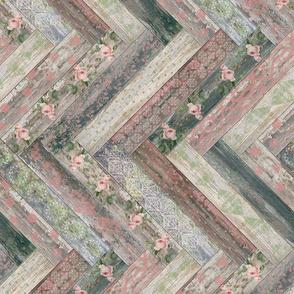 Vintage Wood Chevron Tiles Herringbone Pink Green horizontal