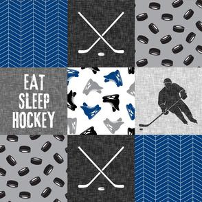 Eat Sleep Hockey - Ice Hockey Patchwork - Hockey Nursery - Wholecloth blue and grey - LAD19