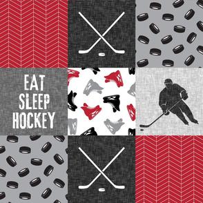 Eat Sleep Hockey - Ice Hockey Patchwork - Hockey Nursery - Wholecloth red, black, and grey - LAD19