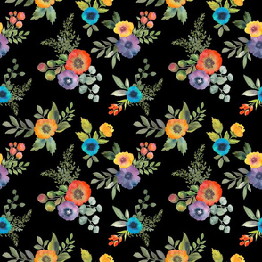 Poppy Boquets on Black