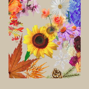 Floral-tea-towel-no-calender-beige