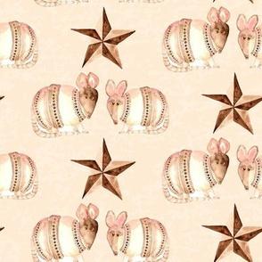 19-01A Armadillo Texas Star Brown Tan Animal Love _ Miss Chiff Designs