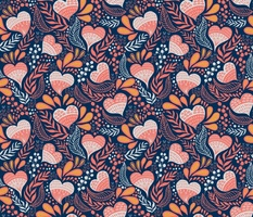 Floral Hearts Day in Blue