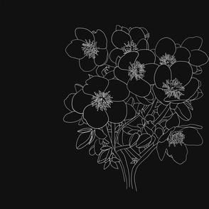 Floral in Black Panel
