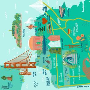 San Francisco map  fat quarter