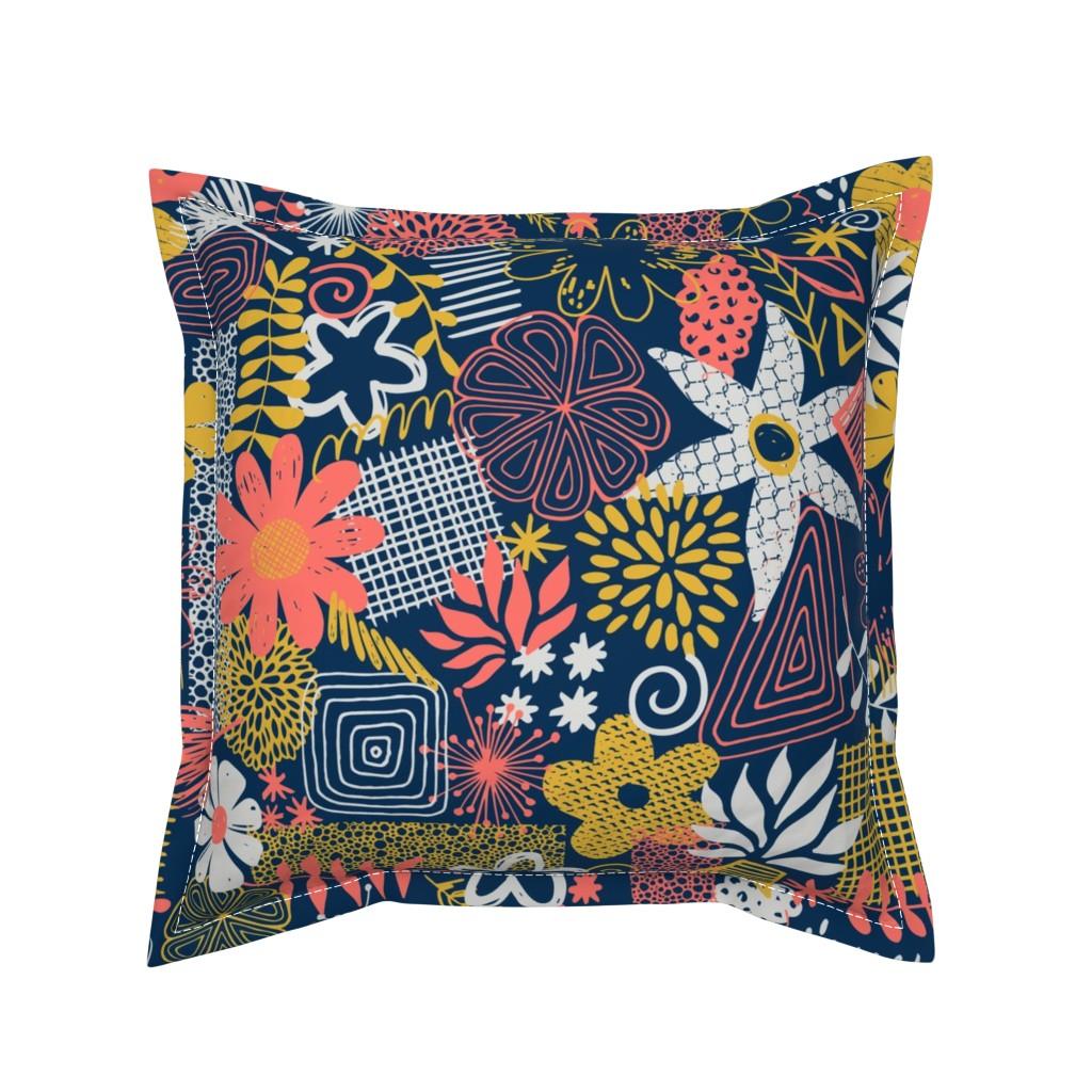 Serama Throw Pillow featuring Organic Flower Mix by diseminger