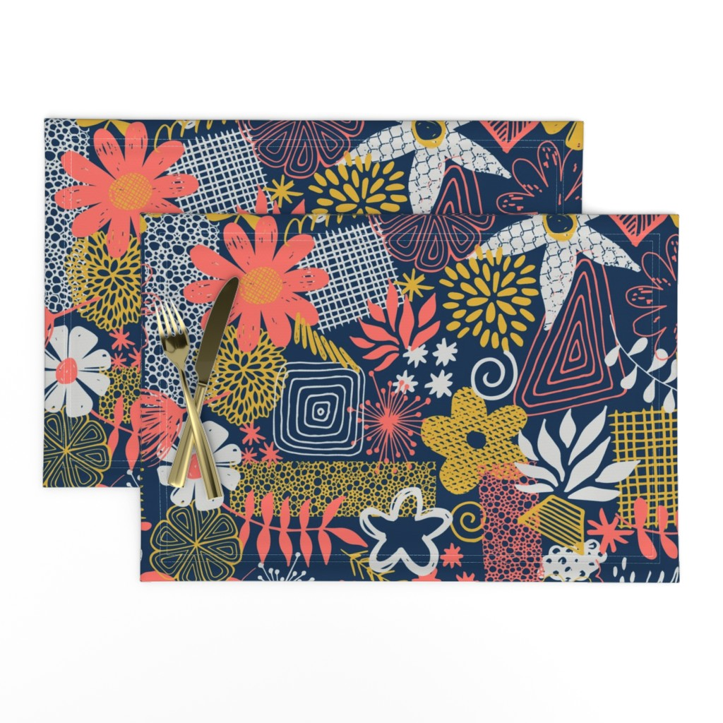 Lamona Cloth Placemats featuring Organic Flower Mix by diseminger