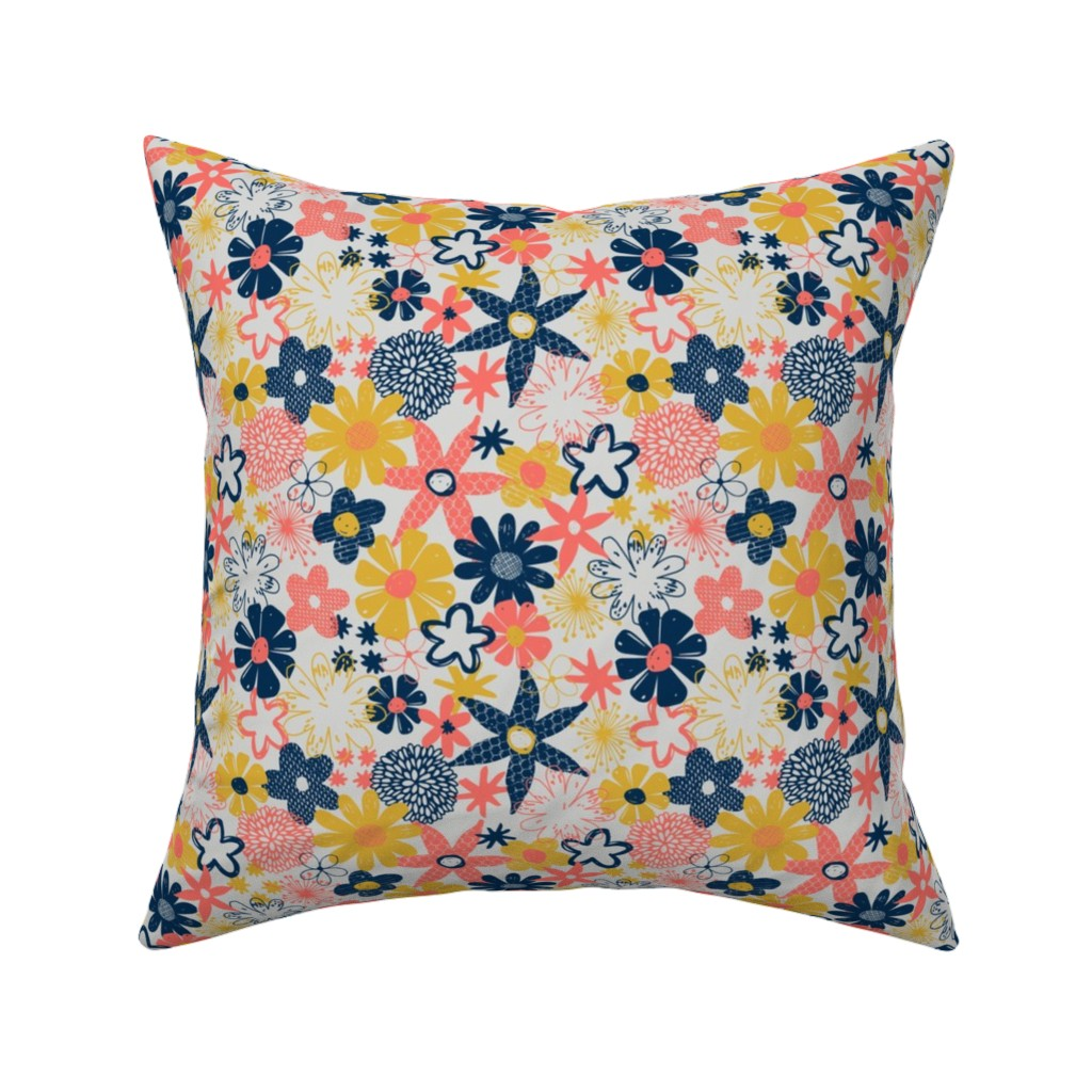 Catalan Throw Pillow featuring Coral floral by diseminger