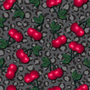 Rockabilly Cherries on Leopard Print