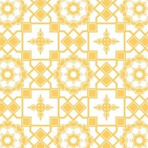 Sunshine Hearts in My Window - Daffodil Yellow on White