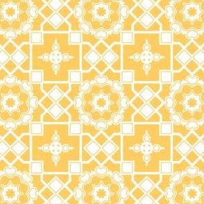 White Hearts in My Sunshine Window - White on Daffodil Yellow