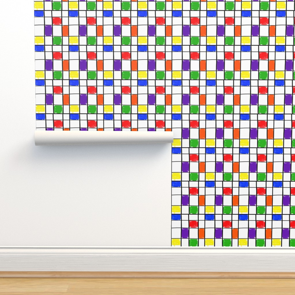 Isobar Durable Wallpaper featuring Mondrian with a Twist - Shabby Chic (large) by bravenewart