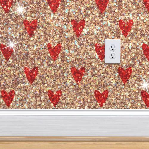 Wallpaper Gold Red Glitter Hearts