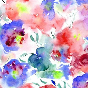 blooming bouquet in red and blue || watercolor floral pattern