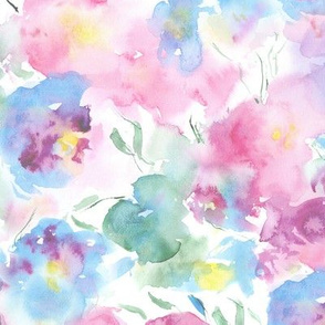Tender blooming bouquet || watercolor floral pattern for baby girl nursery