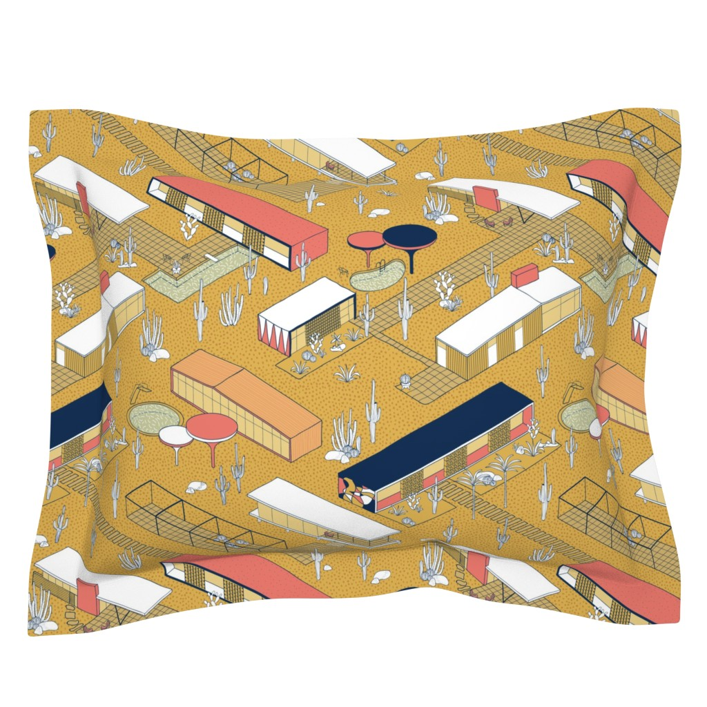 Sebright Pillow Sham featuring saguaro modernism by booboo_collective