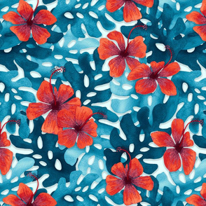Red Hibiscus Pattern small