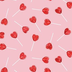 (small scale) heart shaped suckers - lollipops red watercolor on pink C19BS