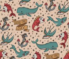 Seas the Day Tattoo Pattern