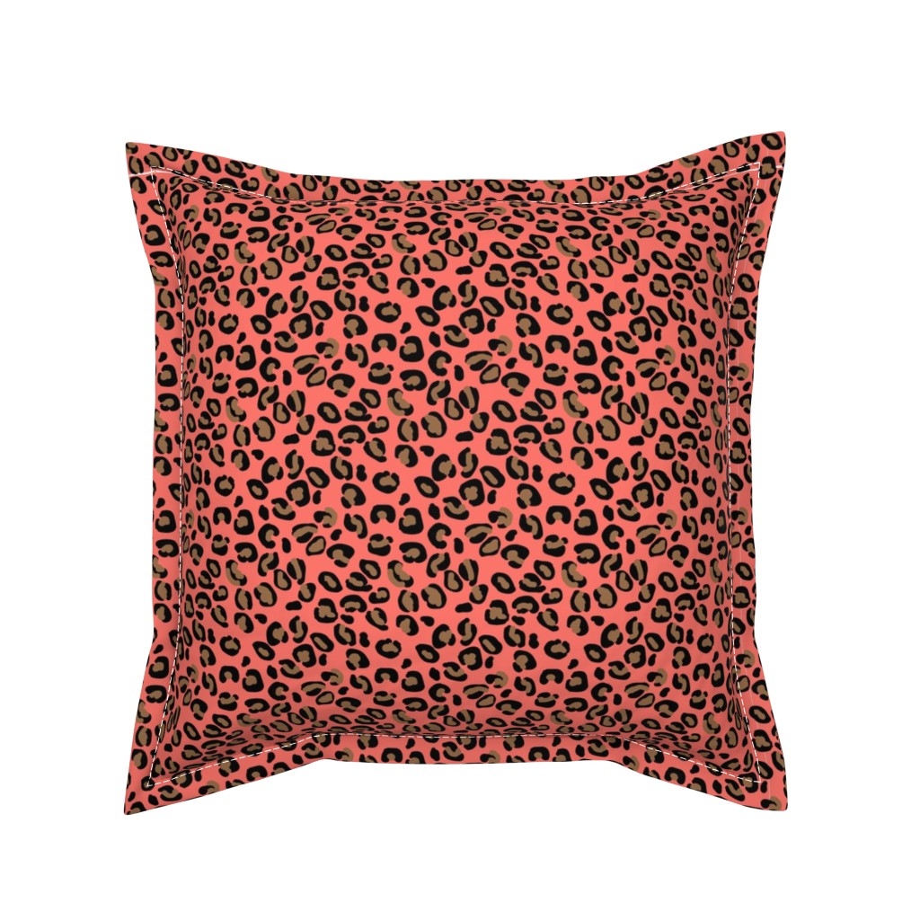 Serama Throw Pillow featuring Living Color Color of the Year in Coral Beige and Black Leopard Spots by paper_and_frill