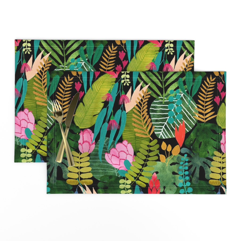 Lamona Cloth Placemats featuring tropical paradise on black by cat_hayward