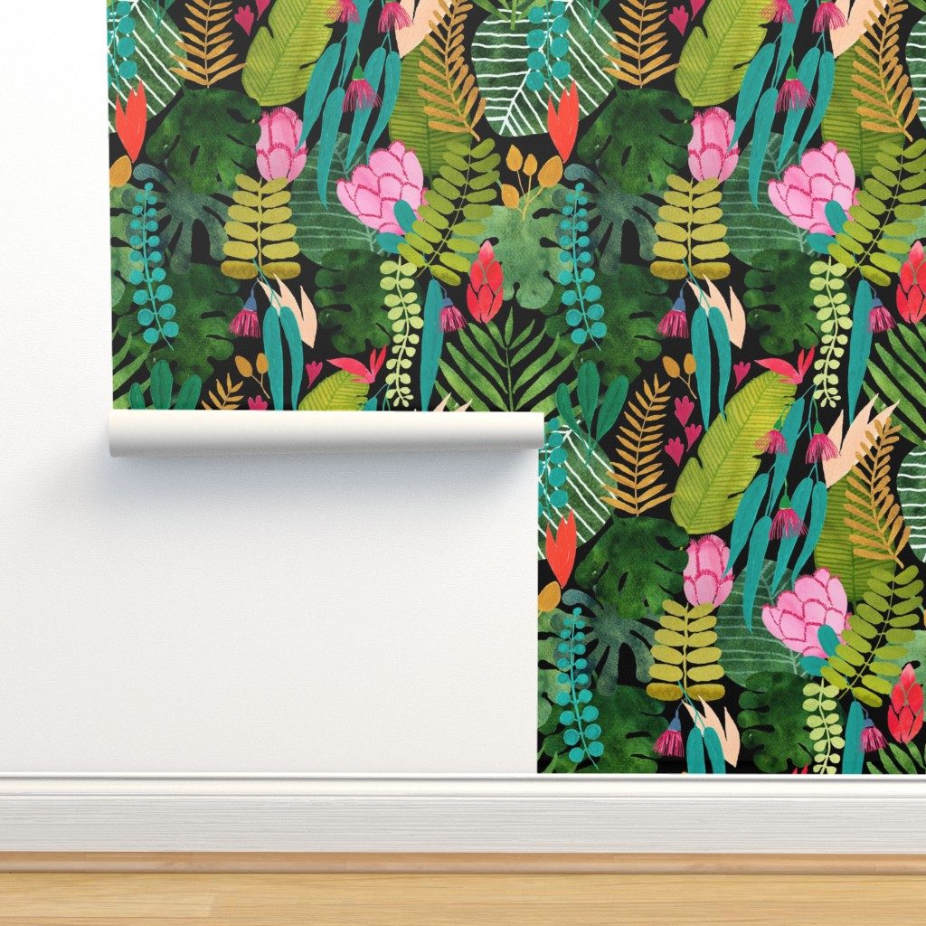 Isobar Durable Wallpaper featuring tropical paradise on black by cat_hayward