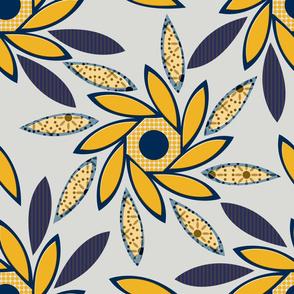Sun Flowers Octagons lg gray