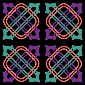 Merlins Knot Teal Mauve Coral