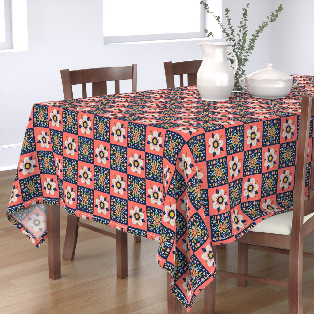 Bantam Rectangular Tablecloth featuring Coral Floral Tiles by nikijin