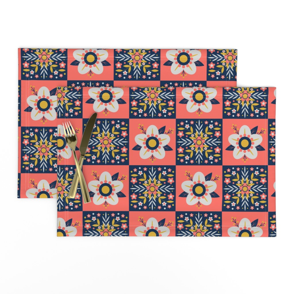 Lamona Cloth Placemats featuring Coral Floral Tiles by nikijin