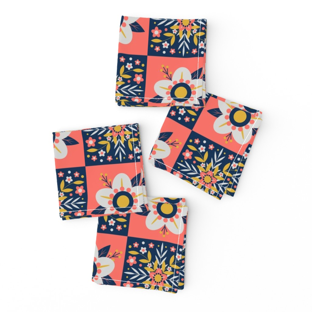 Frizzle Cocktail Napkins featuring Coral Floral Tiles by nikijin