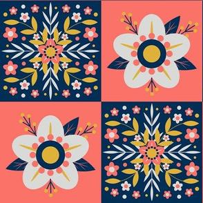 Coral Floral Tiles