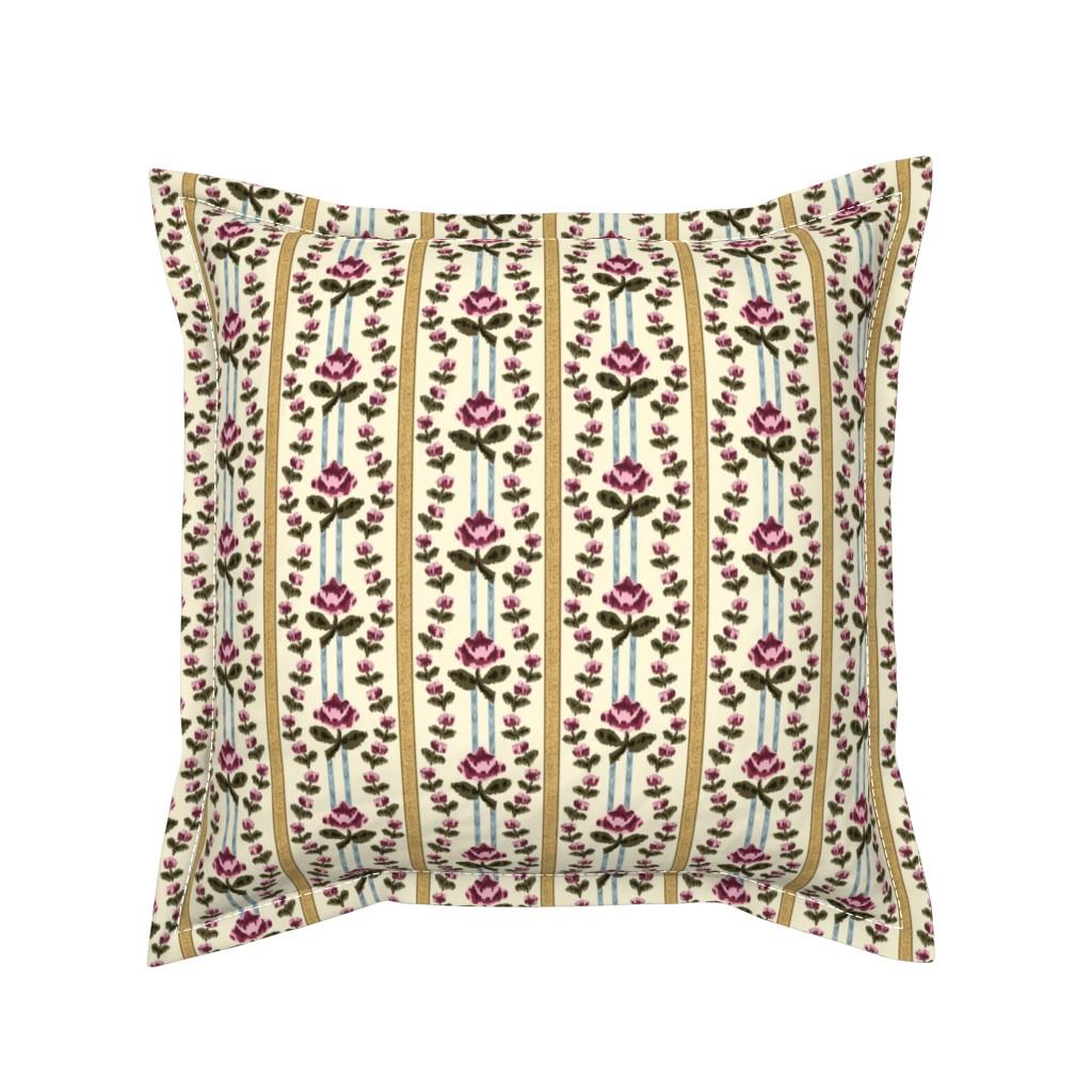 Serama Throw Pillow featuring Roses and Stripes, c. 1775 by ninniku
