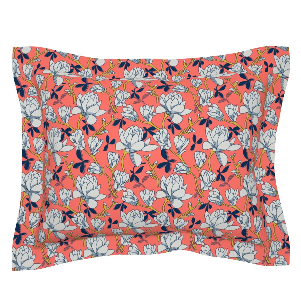 Sebright Pillow Sham featuring Coral Magnolias by amy_maccready