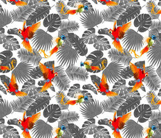 bohemian tropical leaves and birds