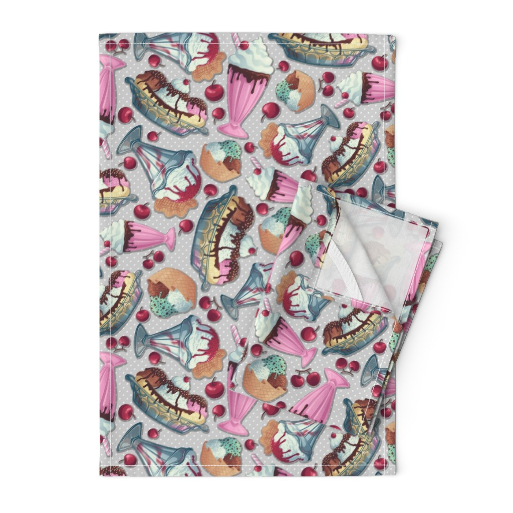 Orpington Tea Towels featuring Rockabilly Ice Cream Diner by abbilaura