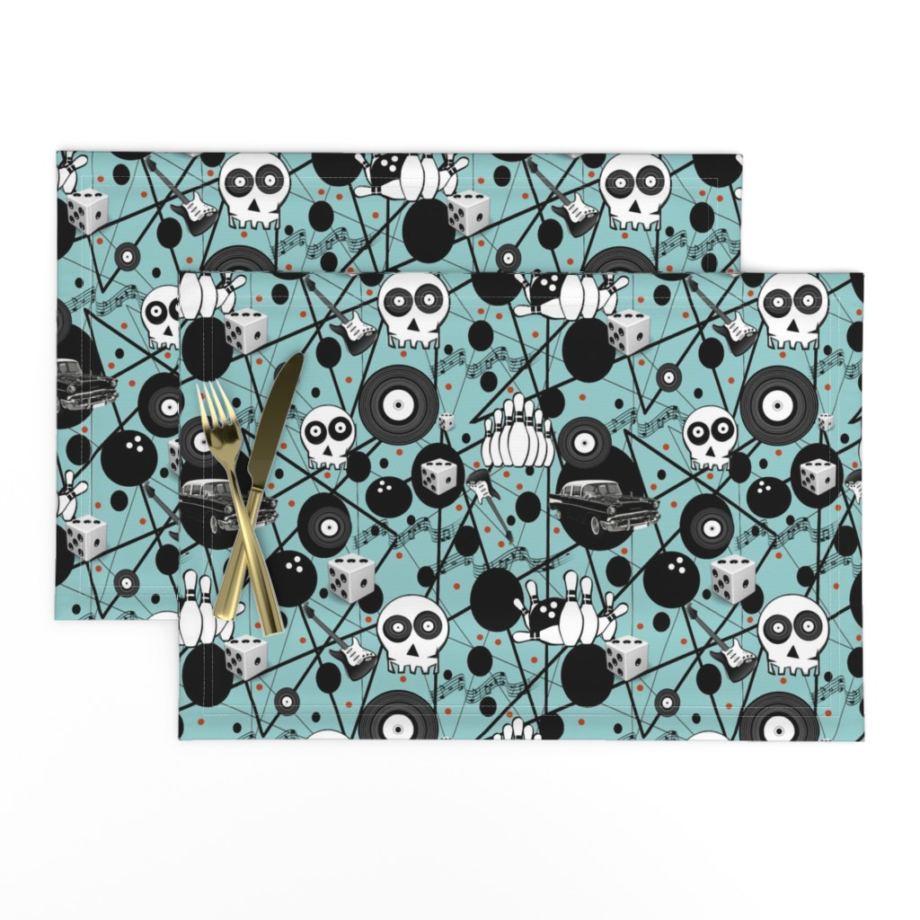 Lamona Cloth Placemats featuring ROCK A BOWL by bluevelvet