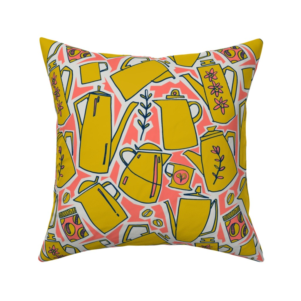 Catalan Throw Pillow featuring A proper cup of coffee - Coral - golden rod - midnight blue - gray  by moirarae