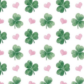 Three-leaf clovers with hearts