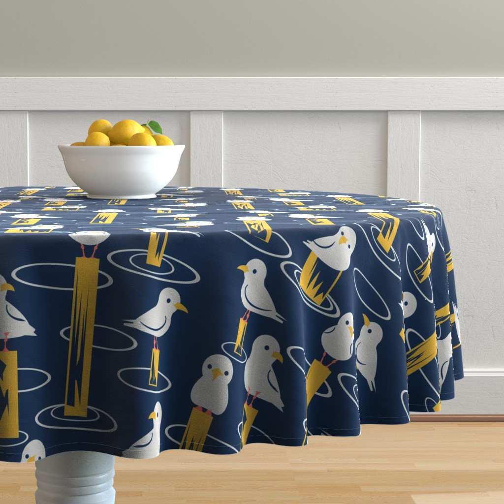 Malay Round Tablecloth featuring Gulls by laura_kerridge