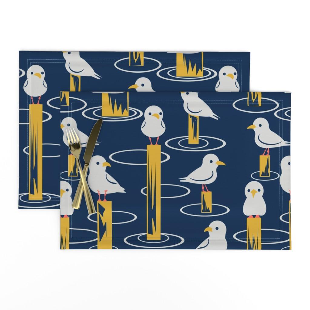 Lamona Cloth Placemats featuring Gulls by laura_kerridge