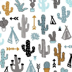 Colorful cactus and teepee botanical summer garden and indian arrow geometric grunge illustration pattern boys blue mustard