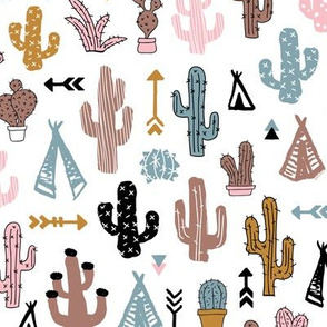 Colorful cactus and teepee botanical summer garden and indian arrow geometric grunge illustration pattern girls pink winter